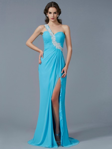 Sheath One-Shoulder Sleeveless Chiffon Sweep/Brush Train Dresses with Beading Applique