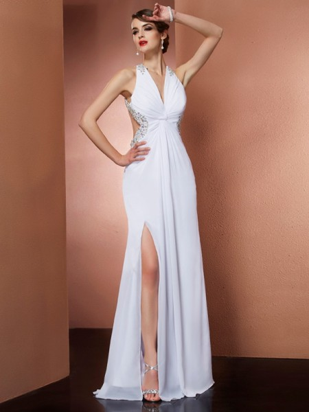 A-Line Halter Sleeveless Long Prom/Evening Dresses with Beading Applique