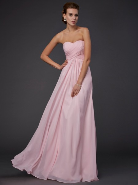 Sheath Sleeveless Sweetheart Floor-Length Chiffon Dresses with Ruffles with