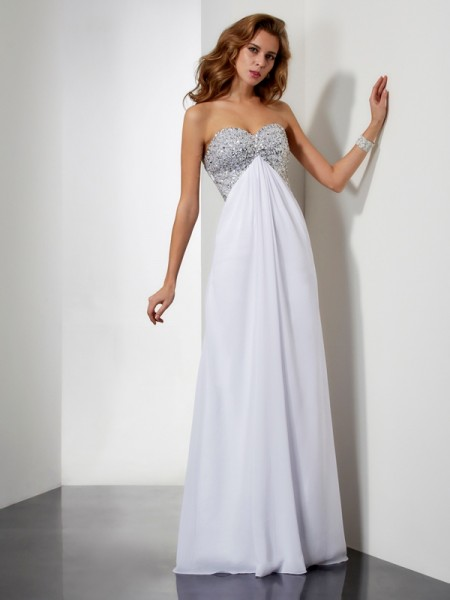 Sheath Sleeveless Sweetheart Floor-Length Chiffon Dresses with Beading