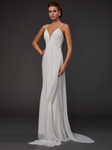 Trumpet Mermaid V-neck Sleeveless Floor-length Chiffon Prom/Evening Dresses with Ruffles with