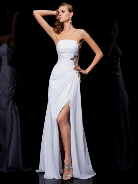 Sheath Sleeveless Floor-Length Strapless Chiffon Dresses with Applique