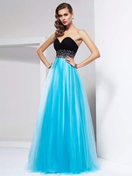 A-Line/Princess Floor-Length Sweetheart Net Sleeveless Dresses with Ruffles
