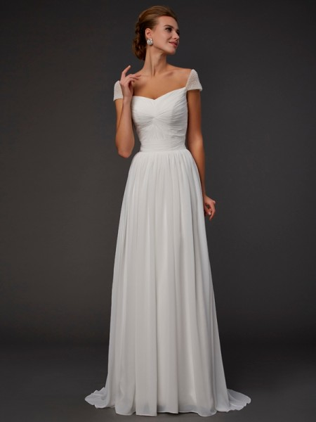 A-Line Short Sleeves Sweetheart Sweep/Brush Train Chiffon Dresses with Beading
