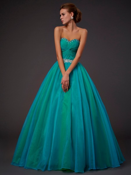 Ball Gown Sleeveless Sweetheart Floor-length Tulle Dresses with Beading with Pleats