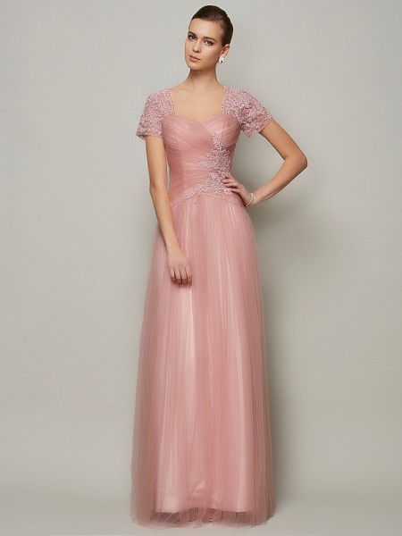 A-Line Short Sleeves Sweetheart Floor-Length Satin Evening/Formal Dresses with Beading
