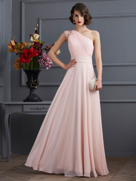 A-Line One-Shoulder Sleeveless Floor-Length Chiffon Dresses with Beading