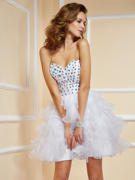 A-Line Sleeveless Short/Mini Sweetheart Organza Dresses with Rhinestone