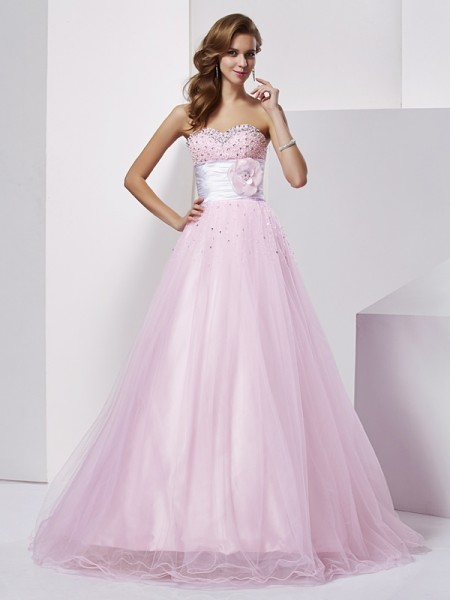 Ball Gown Strapless Sweetheart Net Elastic Woven Satin Long Dresses with Beading