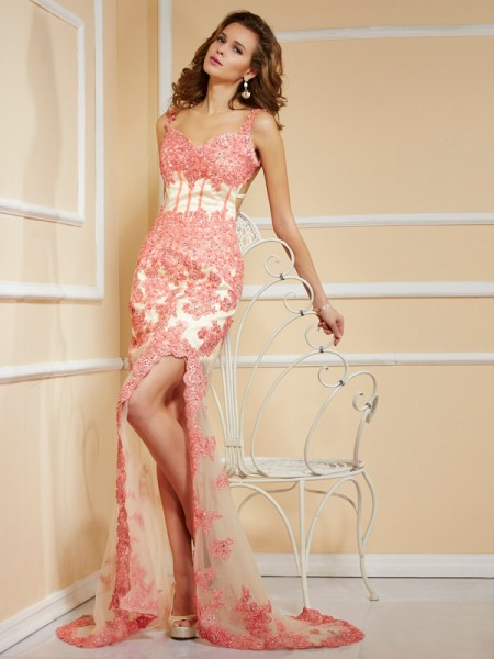 Sheath Sleeveless Sweetheart Asymmetrical Dresses with Applique Lace