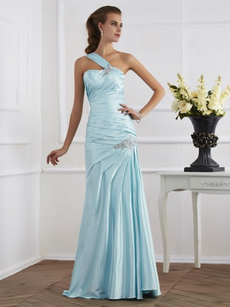Trumpet/Mermaid Sleeveless One-Shoulder Floor-Length Elastic Woven Dresses with Ruched