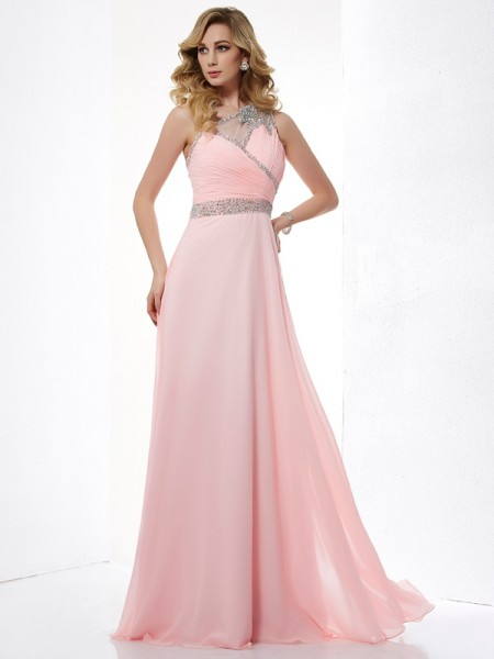 A-Line One-Shoulder Sleeveless Chiffon Long Dresses with Beading