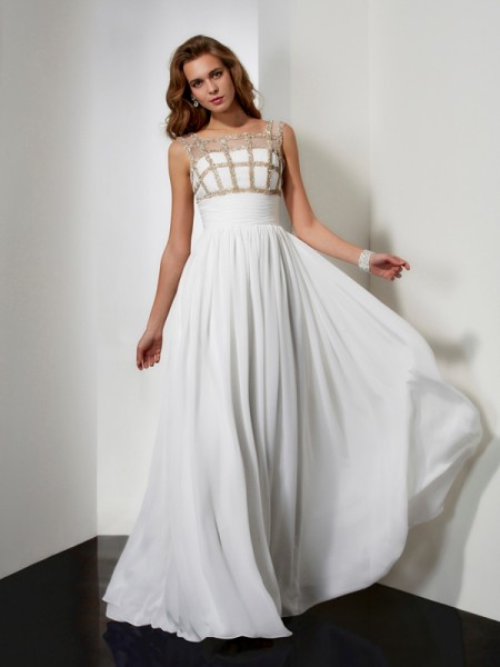 A-Line Floor-Length Straps Sleeveless Chiffon Dresses with Beading