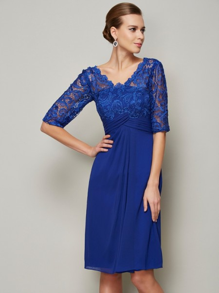 Sheath V-neck Chiffon 1/2 Sleeves Knee-Length Mother of the Bride Dresses with Lace