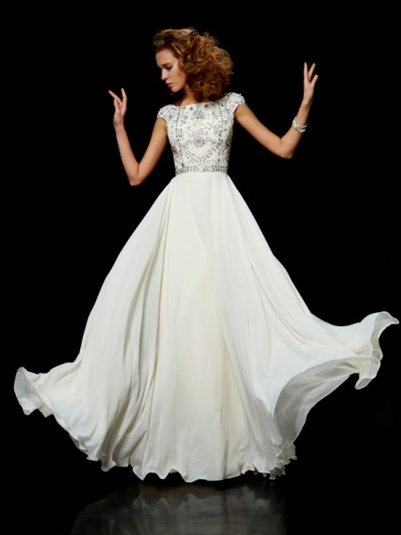 Ball Gown Chiffon High Neck Short Sleeves Long Dresses with Beading