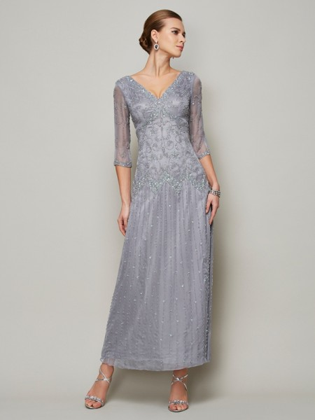 Sheath V-neck 1/2 Sleeves Elastic Woven Satin Mother of the Bride Dresses with Beading