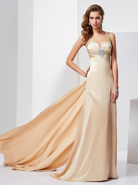 Sheath Halter Sleeveless Sweep/Brush Train Silk like Satin Dresses with Ruffles with