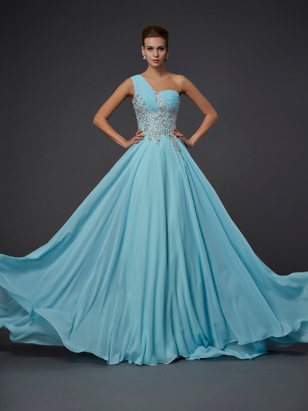 A-Line/Princess One-Shoulder Sleeveless Chiffon Long Dresses with Ruffles