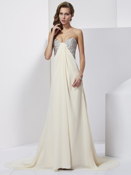 Sheath/Column Chiffon Sweetheart Sleeveless Sweep/Brush Train Dresses with Rhinestone