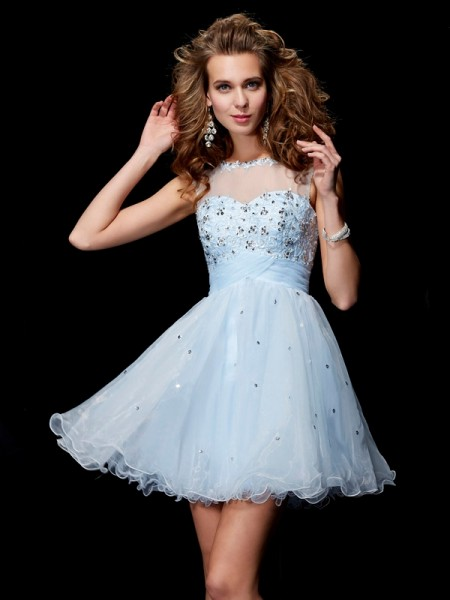 A-Line/Princess Scoop Short/Mini Elastic Woven Satin Sleeveless Dresses with Beading