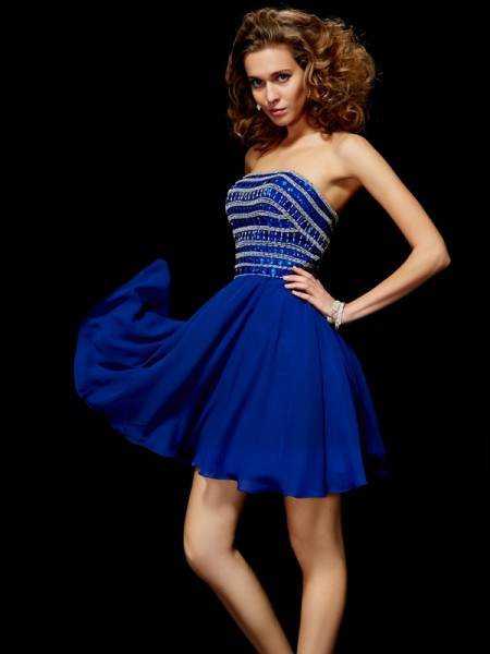 A-Line Strapless Short/Mini Chiffon Sleeveless Dresses with Beading