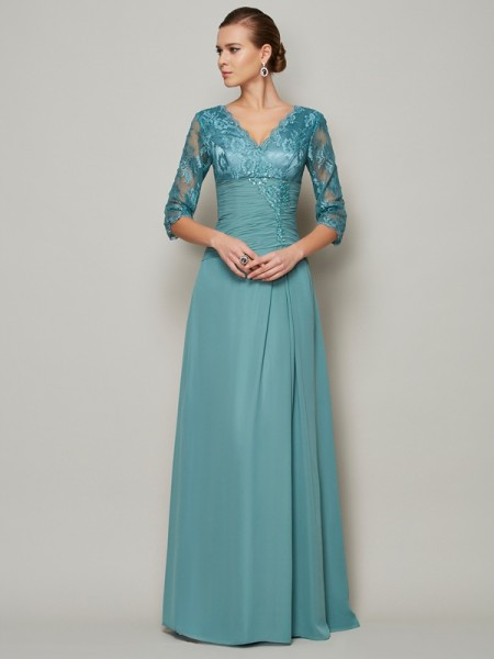 A-Line Chiffon High Neck 3/4 Sleeves Mother Of the Bride Dresses with Lace