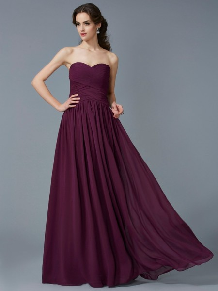 A-Line Sweetheart Sleeveless Floor-Length Chiffon Dresses with Pleats
