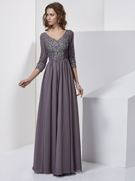 Sheath V-neck Floor-Length 3/4 Sleeves Chiffon Evening/Formal Dresses