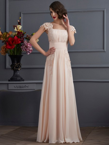 Princess Square Short Sleeves Floor-Length Chiffon Prom/Evening Dresses With Lace