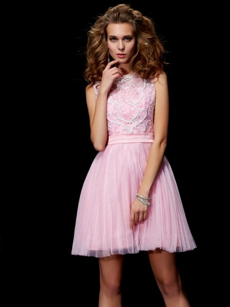 Princess Scoop Short/Mini Elastic Woven Satin Dresses with Beading