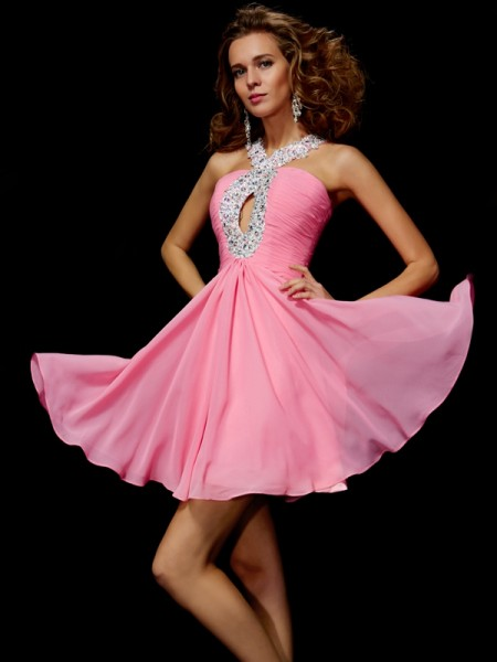 Princess V-Neck Short/Mini Chiffon Homecoming/Cocktail Dresses with Beading with Sequin