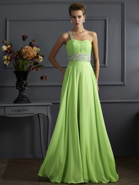 Princess One-Shoulder Sleeveless Floor-Length Chiffon Dresses with Beading