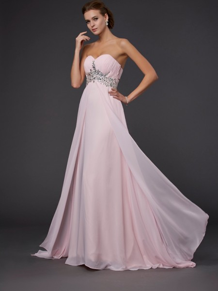 Princess Sleeveless Sweetheart Long Chiffon Prom/Formal Dresses with Beading