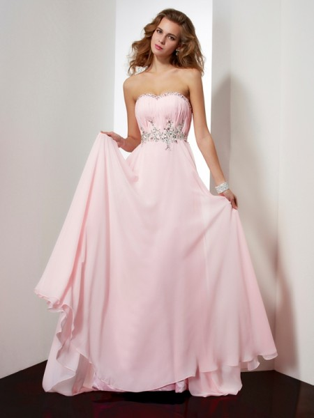 Princess Sweetheart Sleeveless Sweep/Brush Train Chiffon Dresses with Beading Applique