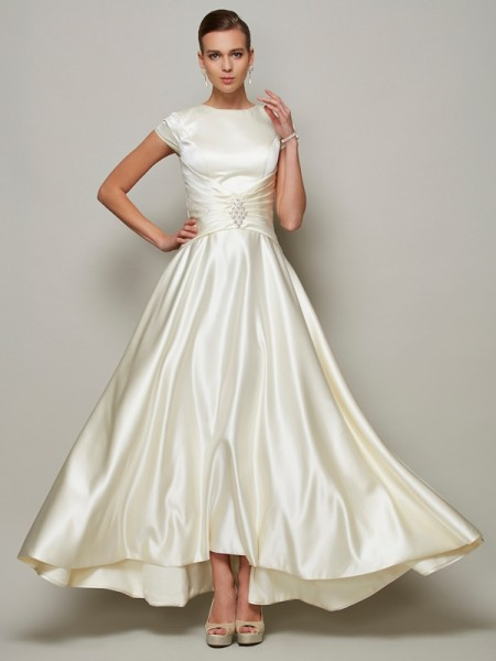 A-Line/Princess Scoop Short Sleeves Satin Mother Of the Bride Dresses with Beading