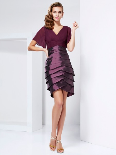 Princess Short Sleeves V-neck Tiered Taffeta Mother Of The Bride Dresses