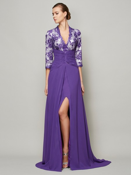 Princess Floor-Length V-neck Sweep/Brush Train Chiffon Prom/Evening Dresses with Beading