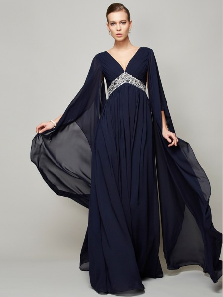 A-Line/Princess Chiffon V-neck Long Sleeves Long Dresses with Beading
