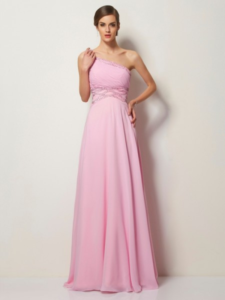 Princess One-Shoulder Chiffon Sleeveless Sweep/Brush Train Dresses with Beading