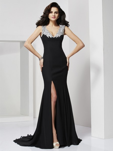 Princess Floor-Length Straps Sleeveless Chiffon Prom/Evening Dresses with Beading