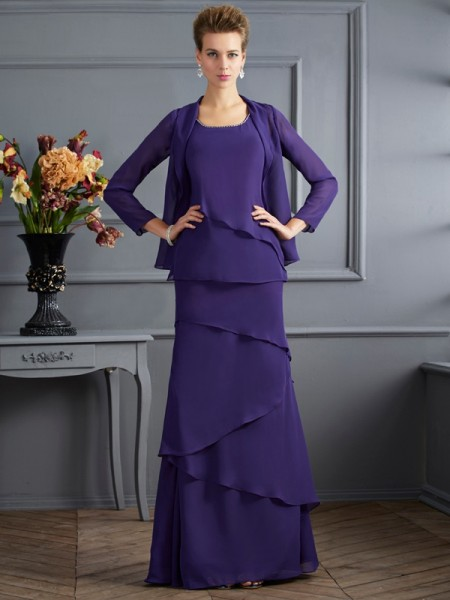 Sheath/Column Scoop Floor-Length Chiffon Sleeveless Mother Of The Bride Dresses with Ruffles