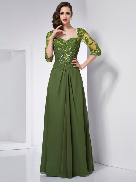 Princess Sweetheart 3/4 Sleeves Chiffon Long Dresses with Beading Applique