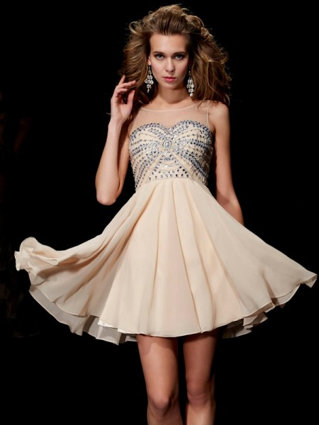 Princess Scoop Sleeveless Chiffon Short Cocktail/Homecoming Dresses with Beading