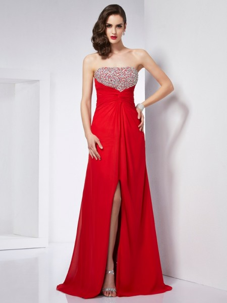 Princess Strapless Sleeveless Chiffon Long Dresses with Beading