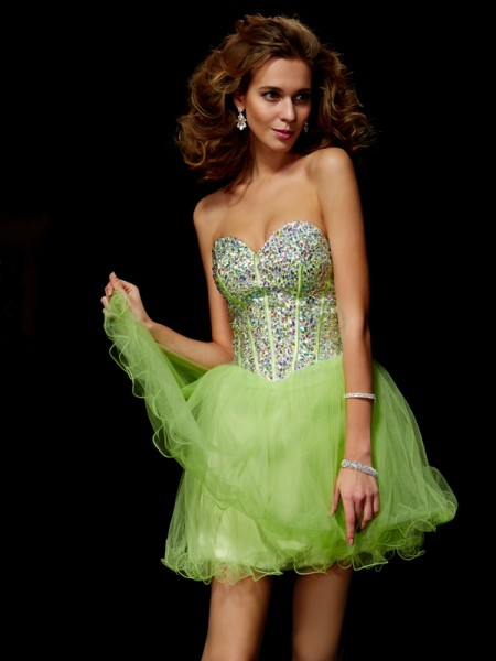 Princess Sequin Sweetheart Elastic Woven Satin Short Cocktail/Homecoming Dresses with Beading