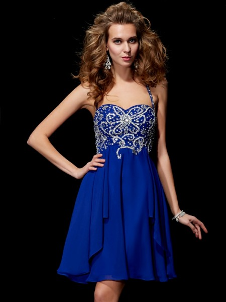 Princess Halter Sleeveless Chiffon Short Cocktail/Homecoming Dresses with Beading
