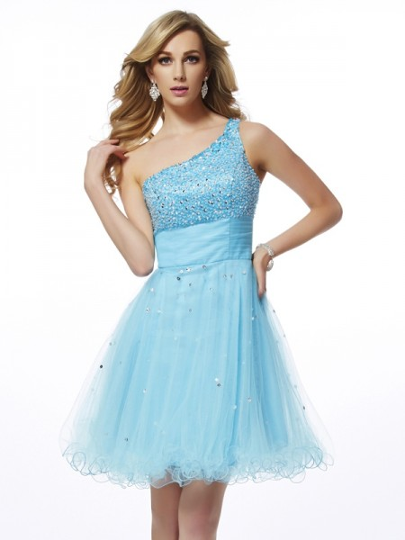 Princess One-Shoulder Sleeveless Organza Short Cocktail/Homecoming Dresses with Beading