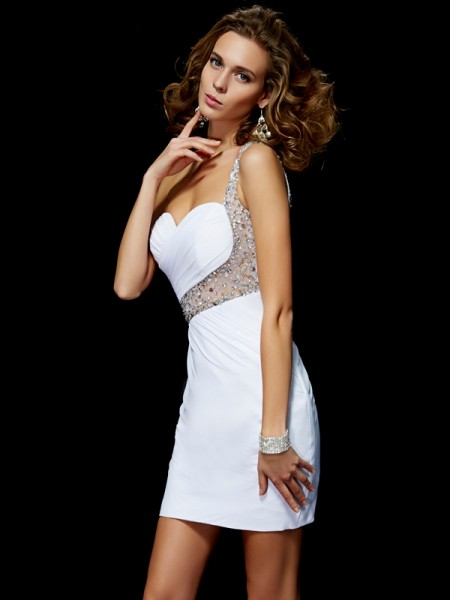 Princess One-Shoulder Chiffon Sequin Sleeveless Short Cocktail/Homecoming Dresses