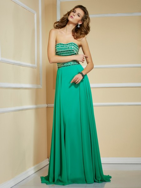 Princess Strapless Sleeveless Sweep/Brush Train Chiffon Dresses with Rhinestone