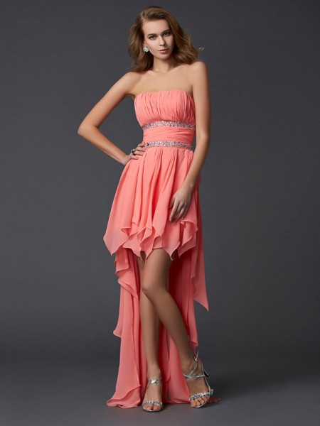 Empire Strapless Sleeveless Chiffon Asymmetrical Dresses with Ruffles with